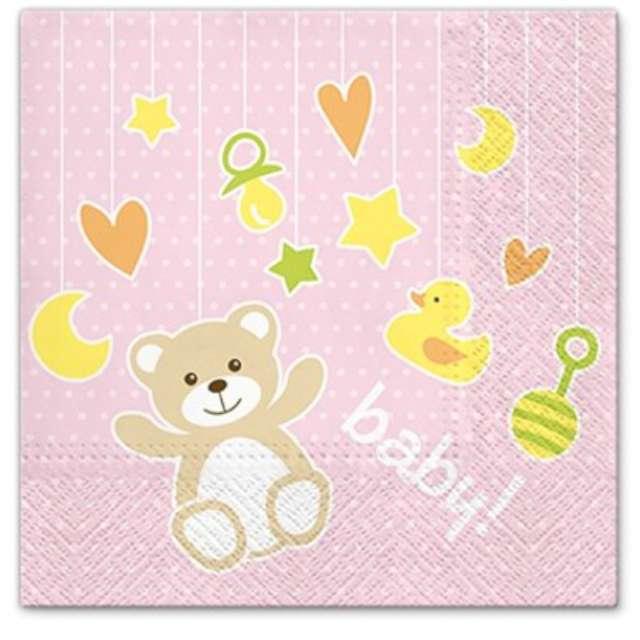 """Serwetki """"Baby shower Zabawki dziewczęce"""", PAW, 33 cm, 20 szt."""