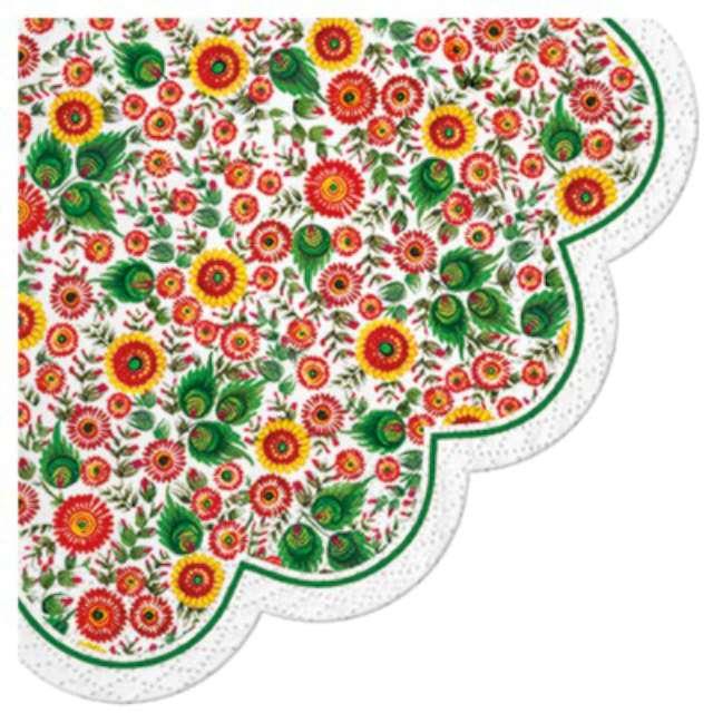 """Serwetki rondo """"Wielkanocne Łowickie kwiaty"""", PAW, 32 cm, 12 szt."""