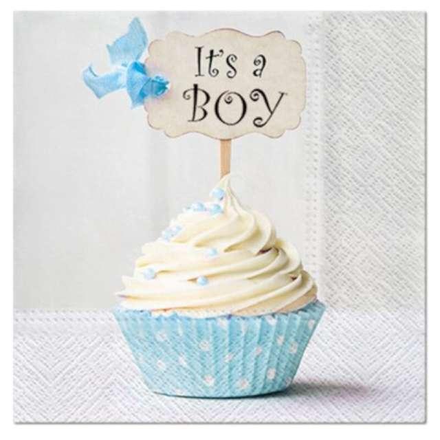 """Serwetki """"Baby shower its a boy"""", PAW, 33 cm, 20 szt."""