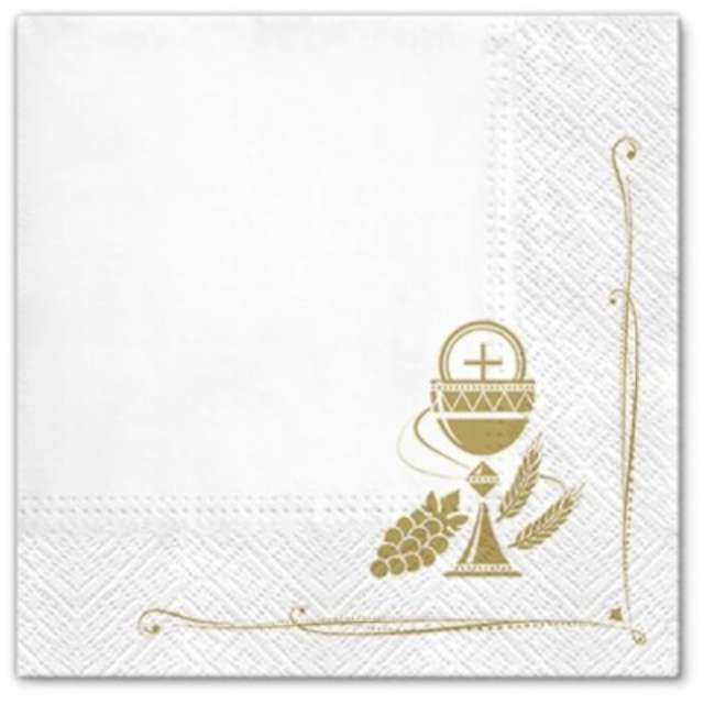 """Serwetki """"Komunia złote symbole"""", PAW, 33 cm, 20 szt."""