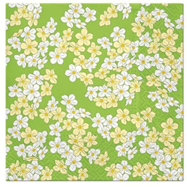 """Serwetki """"Kwiatki biało-żółte"""", PAW, 33 cm, 20 szt."""