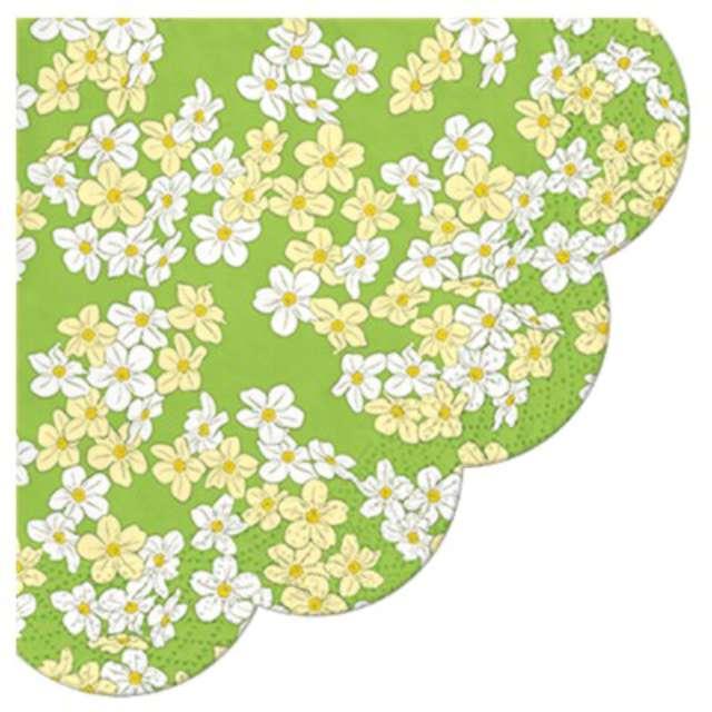 """Serwetki rondo """"Biało-żółte kwiatki"""", PAW, 32 cm, 12 szt."""