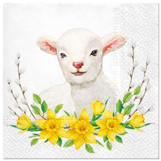 """Serwetki """"Wielkanocne Owieczka w żonkilach"""", PAW, 33 cm, 20 szt."""