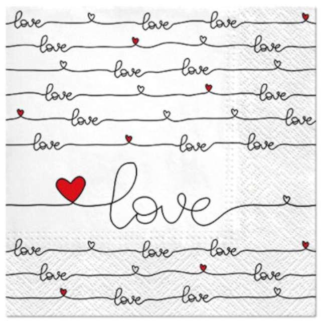 """Serwetki """"Ślubne Napis LOVE"""", PAW, 33 cm, 20 szt."""