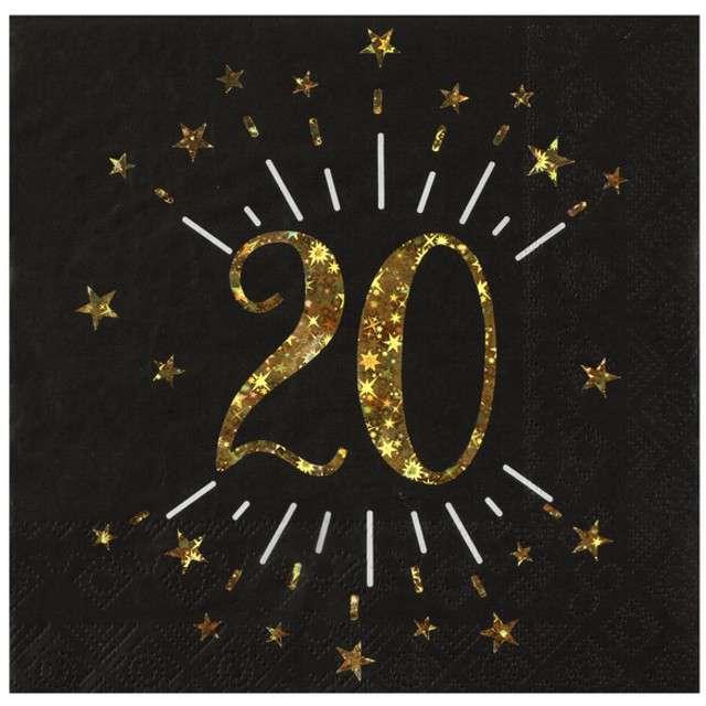 """Serwetki """"20 urodziny"""", SANTEX, 33 cm, 10 szt"""