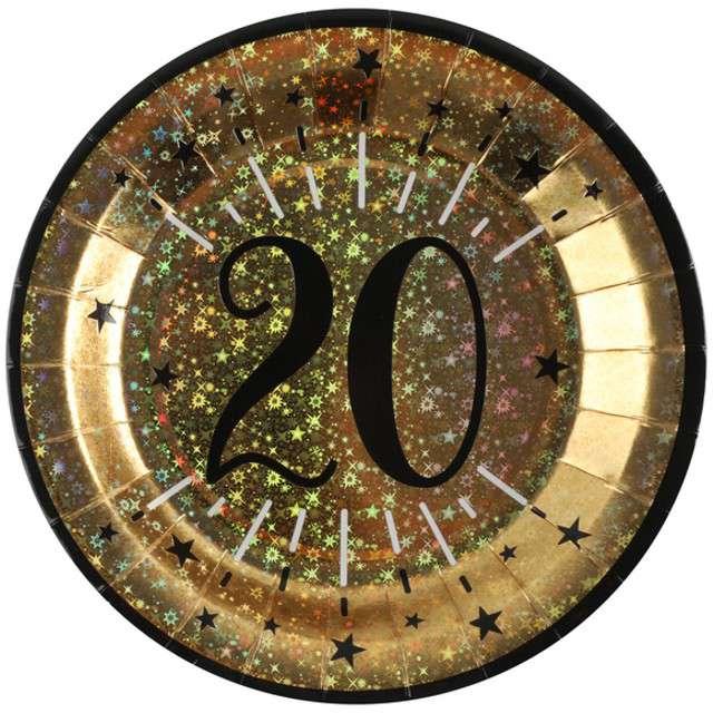"""Talerzyki papierowe """"20 urodziny - Holo Gold"""", SANTEX,  22,5 cm, 10 szt"""