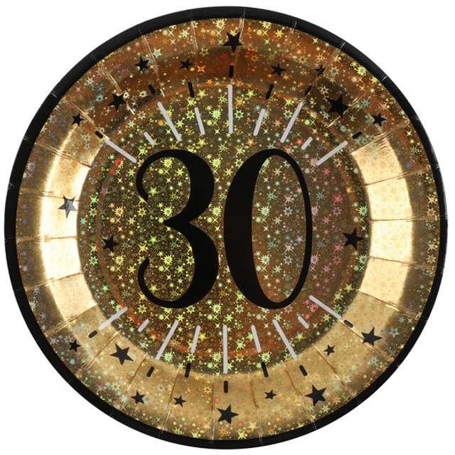 """Talerzyki papierowe """"30 urodziny - Holo Gold"""", SANTEX, 22,5 cm, 10 szt"""