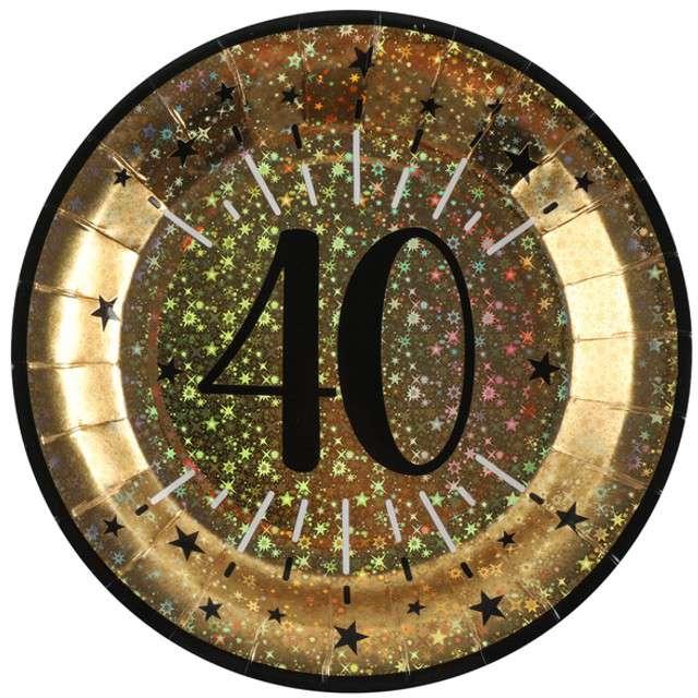 """Talerzyki papierowe """"40 urodziny - Holo Gold"""", SANTEX, 22,5 cm, 10 szt"""