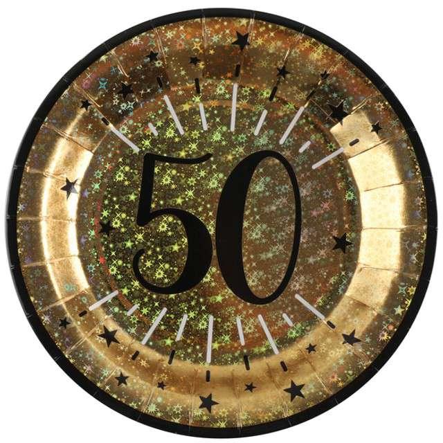 """Talerzyki papierowe """"50 urodziny - Holo Gold"""", SANTEX, 22,5 cm, 10 szt"""