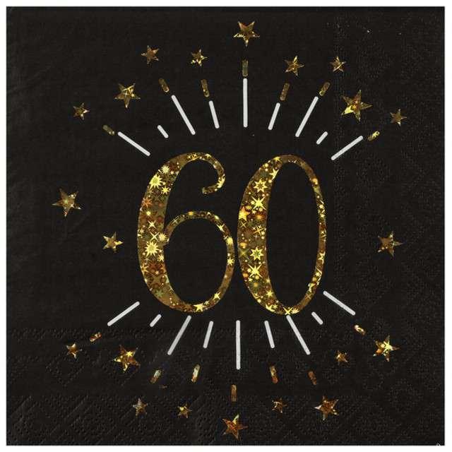 """Serwetki """"60 urodziny"""", SANTEX, 33 cm, 10 szt"""