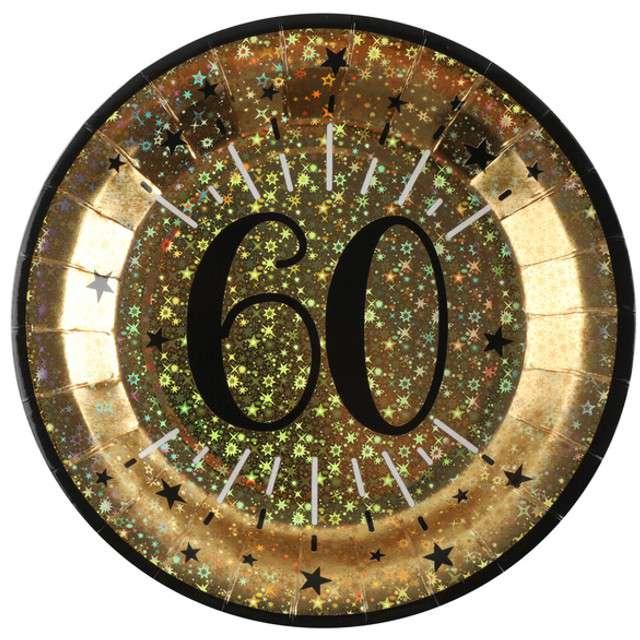 """Talerzyki papierowe """"60 urodziny - Holo Gold"""", SANTEX, 22,5 cm, 10 szt"""