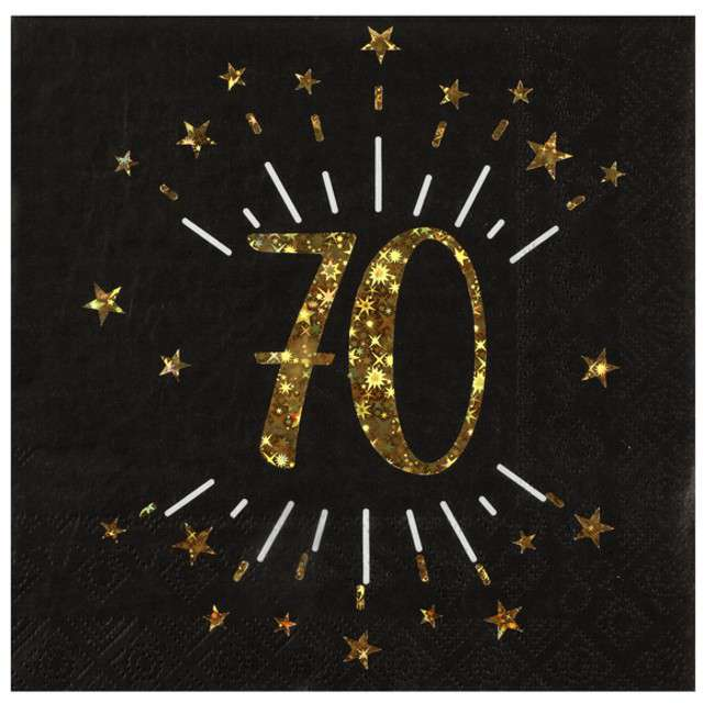 """Serwetki """"70 urodziny"""", SANTEX, 33 cm, 10 szt"""