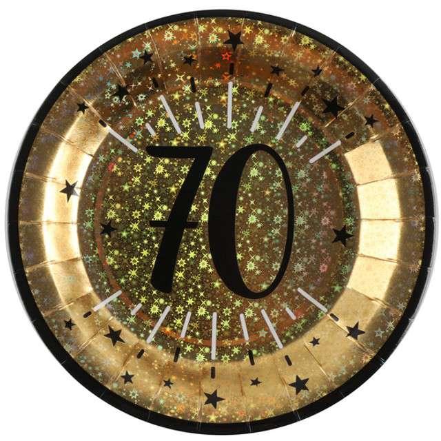 """Talerzyki papierowe """"70 urodziny - Holo Gold"""", SANTEX, 22,5 cm, 10 szt"""