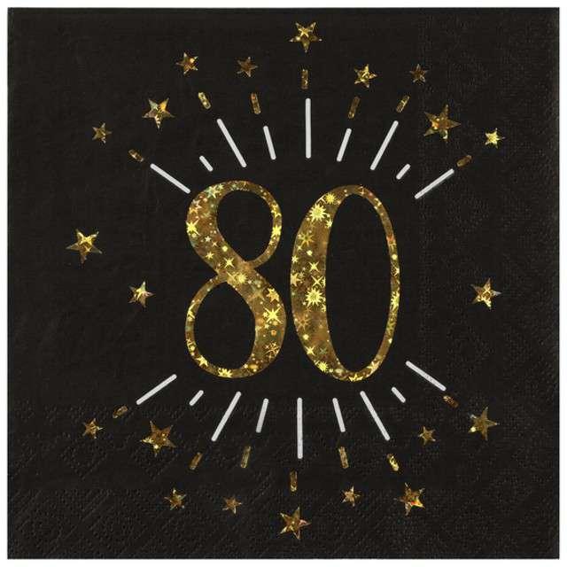 """Serwetki """"80 urodziny"""", SANTEX, 33 cm, 10 szt"""