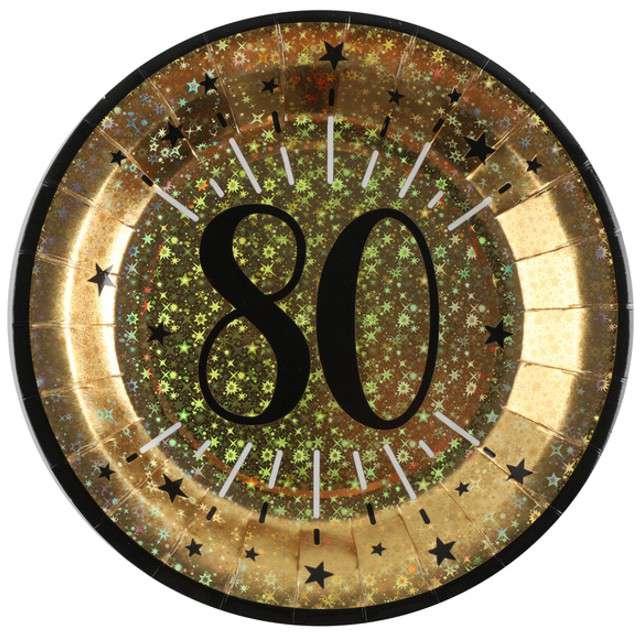 """Talerzyki papierowe """"80 urodziny - Holo Gold"""", SANTEX, 22,5 cm, 10 szt"""