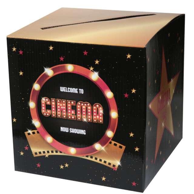 """Pudełko na koperty """"Hollywood"""",czarno - złoty, SANTEX, 20 x 20 cm"""