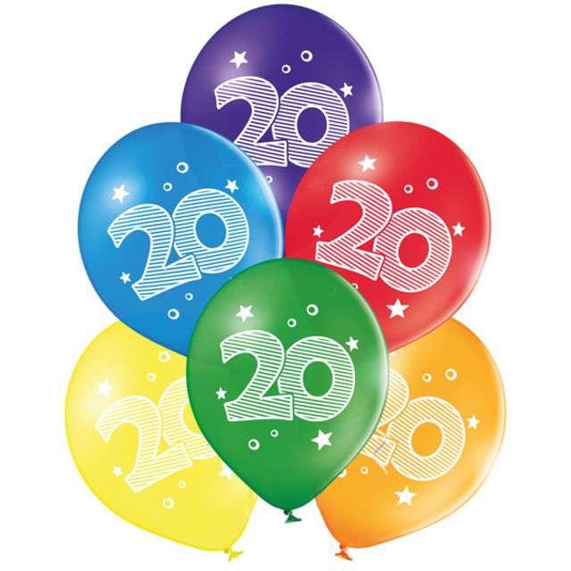 "Balony ""20 Urodziny"", pastel mix, BELBAL, 10"", 6 szt"