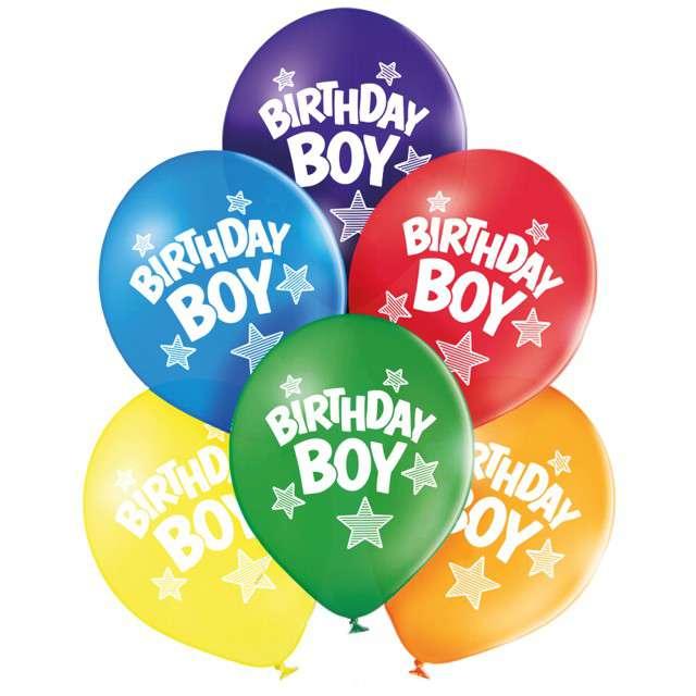 """Balony """"Birthday boy"""", pastel mix, BELBAL, 10"""", 6 szt"""