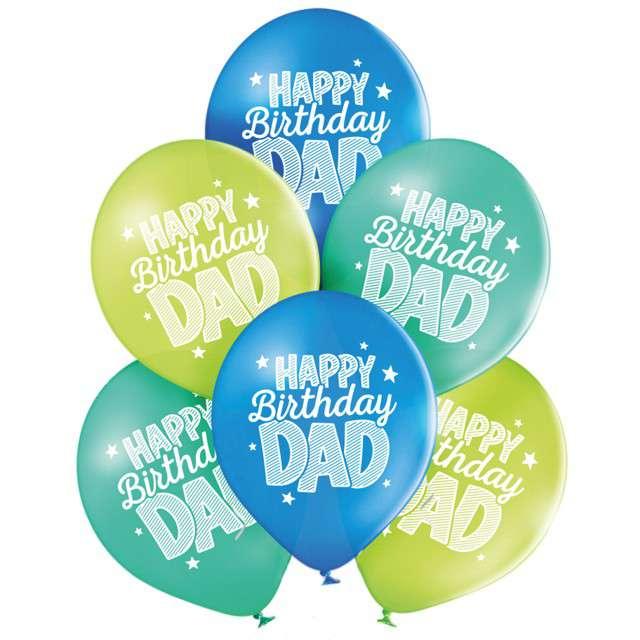 "Balony ""Happy Birthday Dad"", pastel mix, BELBAL, 10"", 6 szt"