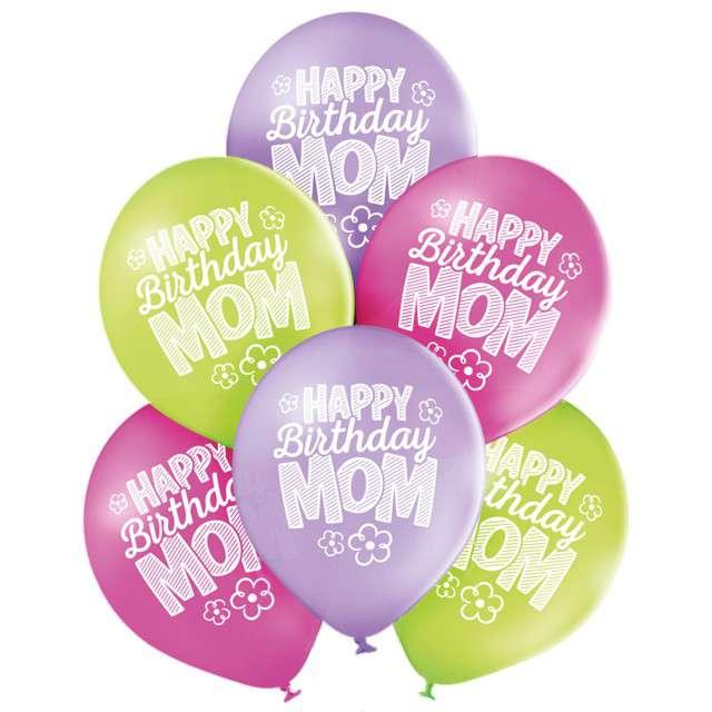 "Balony ""Happy Birthday Mom"", pastel mix, BELBAL, 10"", 6 szt"