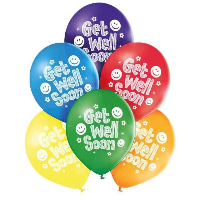 """Balony """"Wracaj do zdrowia - Get well soon"""", pastel mix, BELBAL, 10"""", 6 szt"""