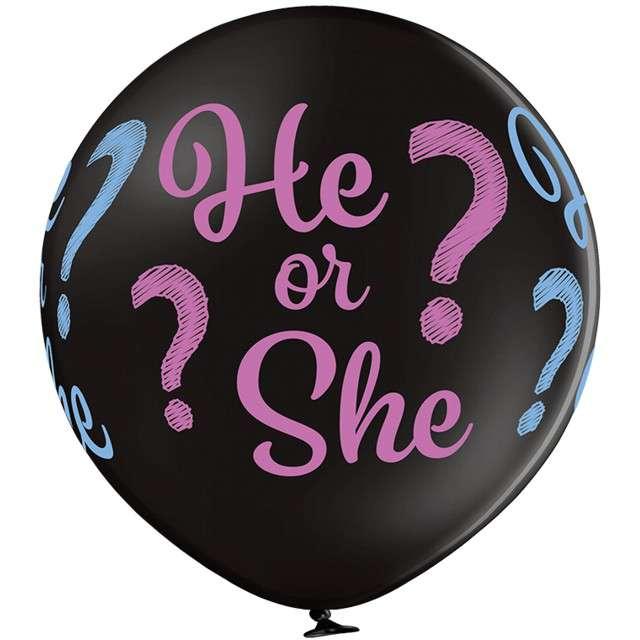 Balon Gigant - He or She czarny pastel BELBAL 24