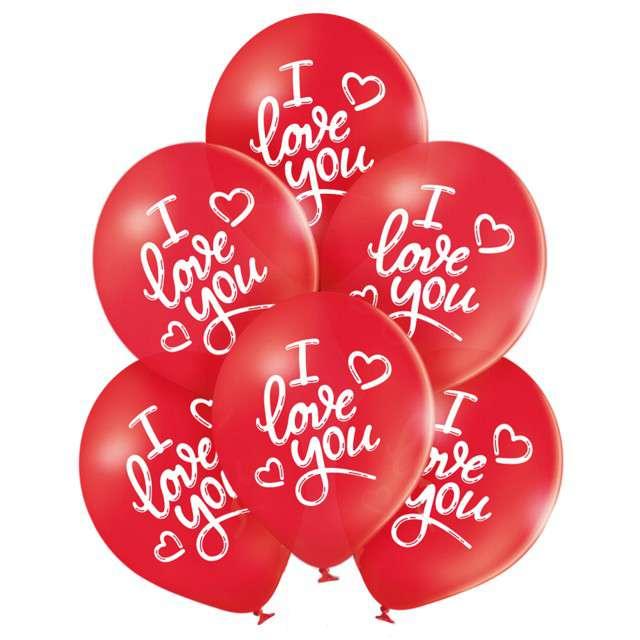 """Balony """"I Love You """", czerwony, BELBAL, 10"""", 6 szt"""