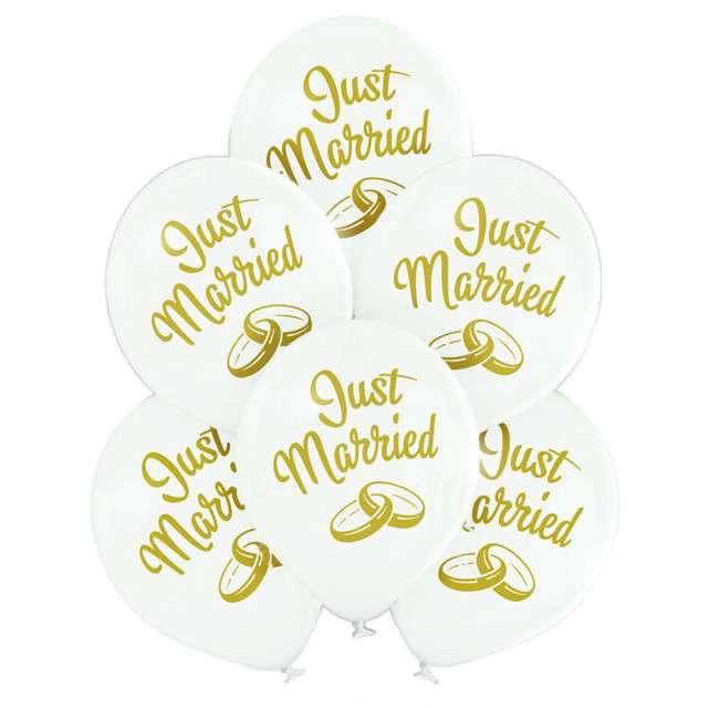 """Balony """"Just Married """", biały, BELBAL, 10"""", 6 szt"""