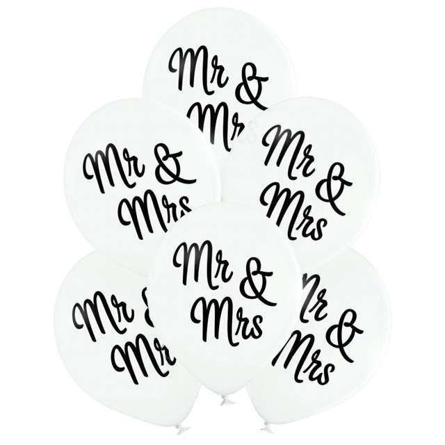 """Balony """"Ślubne - Mr & Mrs"""", biały, BELBAL, 10"""", 6 szt"""