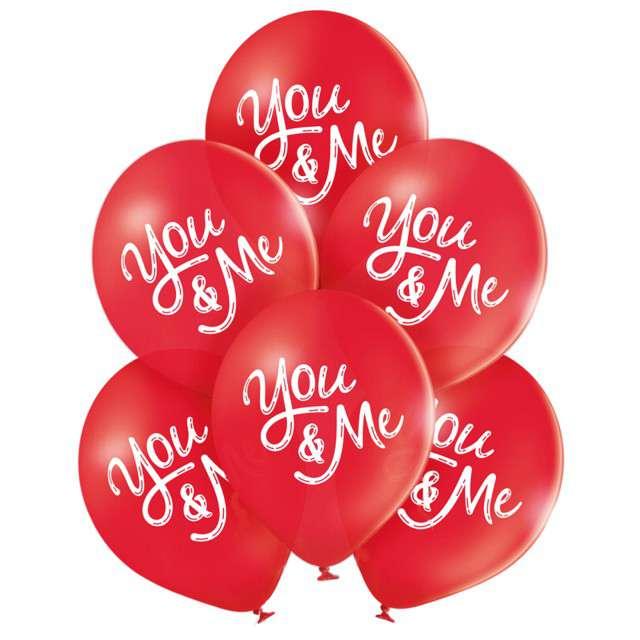 """Balony """"You and Me - walentynki"""", czerwony, BELBAL, 10"""", 6 szt"""