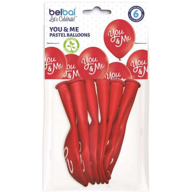 Balony You and Me - walentynki czerwony BELBAL 10 6 szt