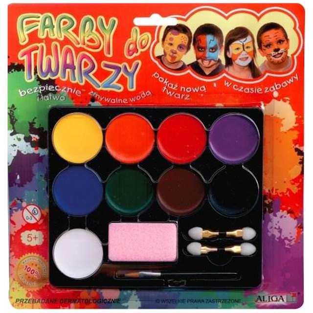 """Make-up paarty """"Farby do twarzy"""", Aliga, 8 kolorów"""