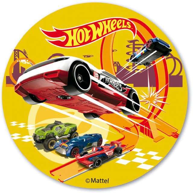 Dekoracja tortu - opłatek elastyczny bezglutenowy Hot Wheels 20cm Dekora