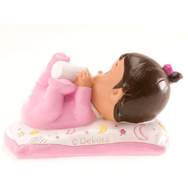 """Figurka na tort """"Chrzest dziewczynka z butelką"""", Dekora, 10x6 cm"""