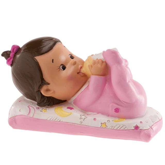 Figurka na tort Chrzest dziewczynka z butelką Dekora 10x6 cm