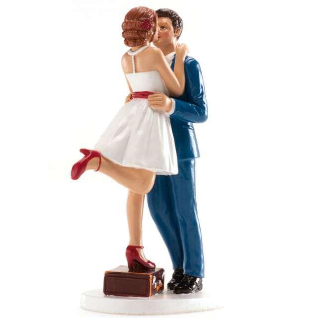Figurka na tort Ślub Para Młoda z walizką Dekora 16 cm