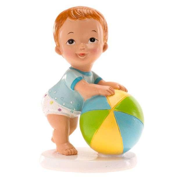 """Figurka na tort """"Chrzest chłopiec z piłką"""", Dekora, 10x7 cm"""