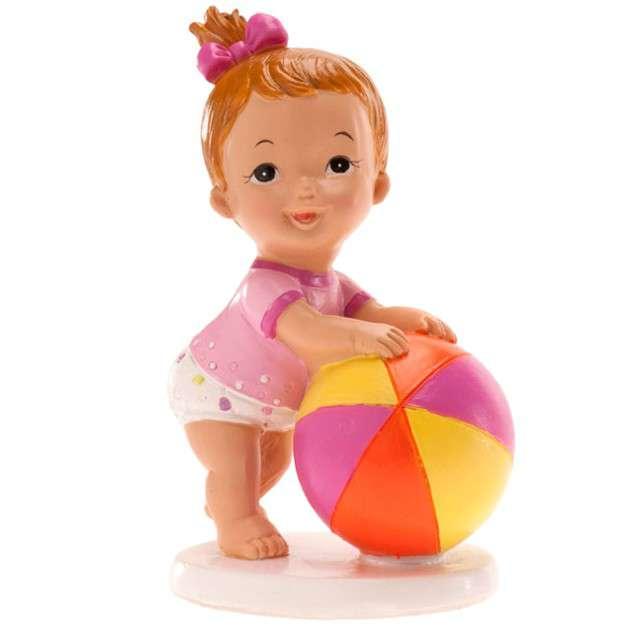 """Figurka na tort """"Chrzest dziewczynka z piłką"""", Dekora, 10x7 cm"""