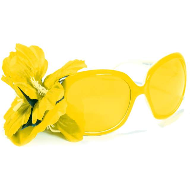 "Okulary party ""Kwiatek"", żółte, Folat"