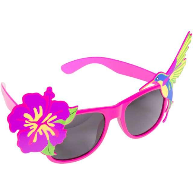 """Okulary party """"Kwiatek z kolibrem"""", różowe, Folat"""