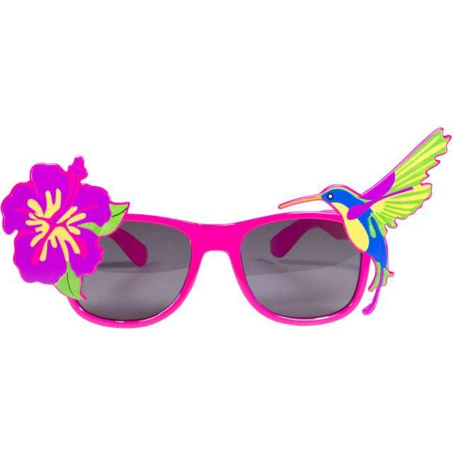 Okulary party Kwiatek z kolibrem różowe Folat