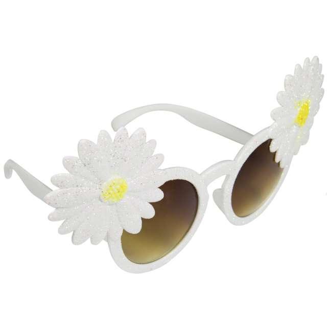 """Okulary party """"Kwiaty z brokatem"""", białe, Folat"""