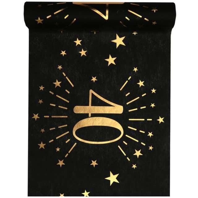 """Bieżnik """"40 urodziny"""", czarno - złoty, SANTEX, 500 x 30 cm"""
