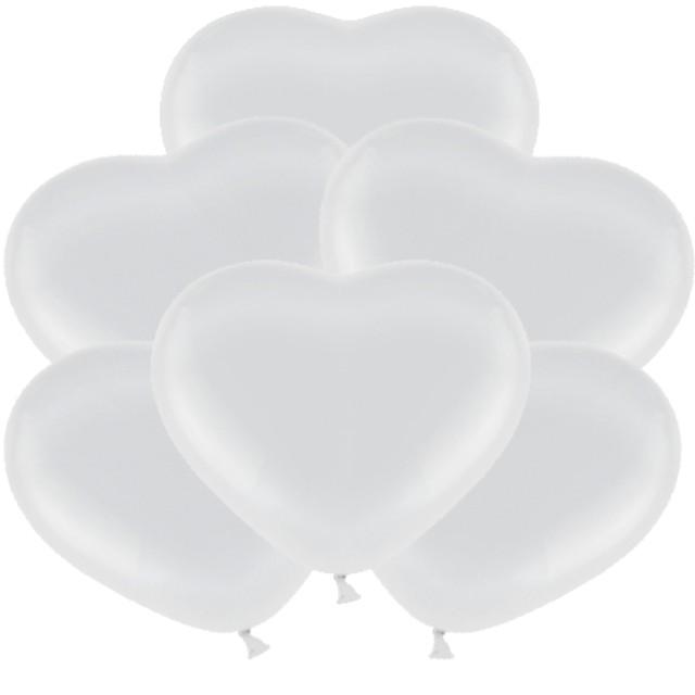 """Balony """"Serduszka"""", białe, BELBAL, 11"""", 6 szt, HRT"""