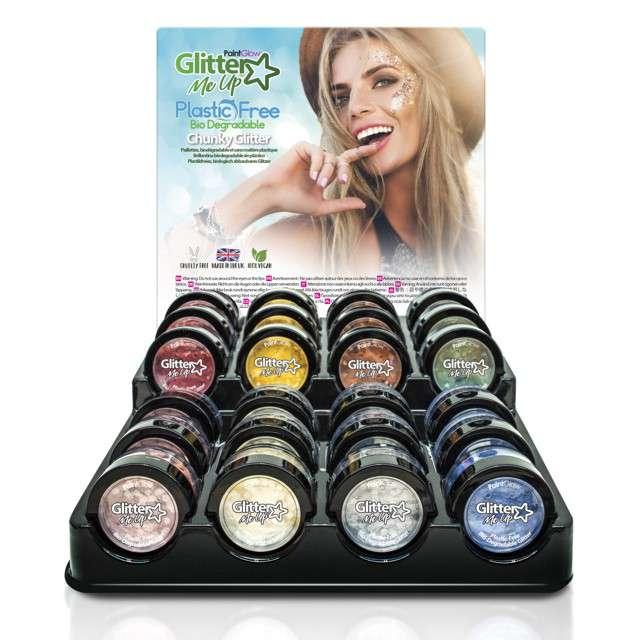 Make-up party Brokat bio gruby niebieski Paint Glow