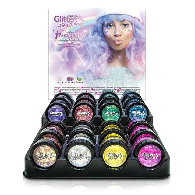 Make-up party Brokat opalizujący gruby różowy Paint Glow