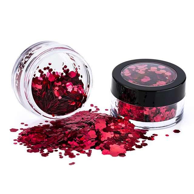"""Make-up party """"Brokat metalizowany gruby"""", czerwony, Paint Glow"""
