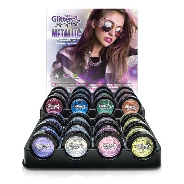 Make-up party Brokat metalizowany gruby srebrny Paint Glow