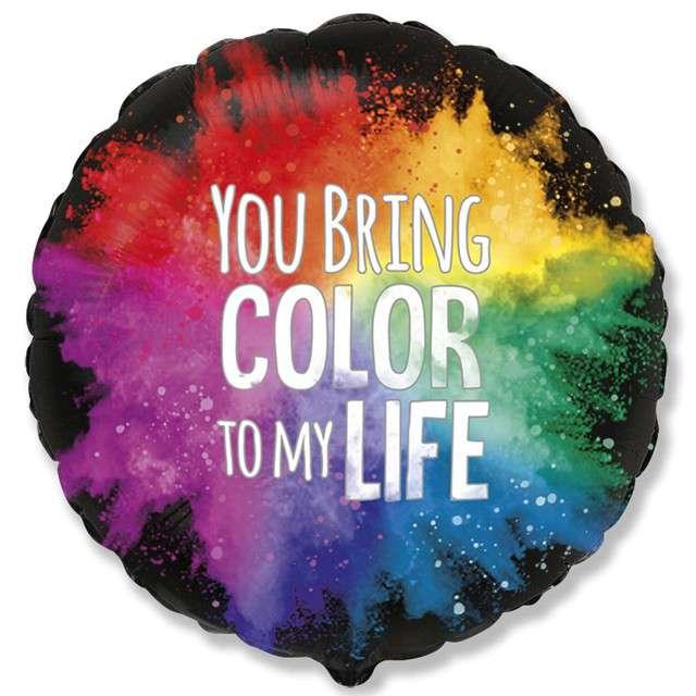 "Balon foliowy ""You bring color"", Flexmetal, 18"", RND"
