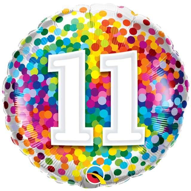 "Balon foliowy ""Tęczowe konfetti 11"", Qualatex, 18"", RND"